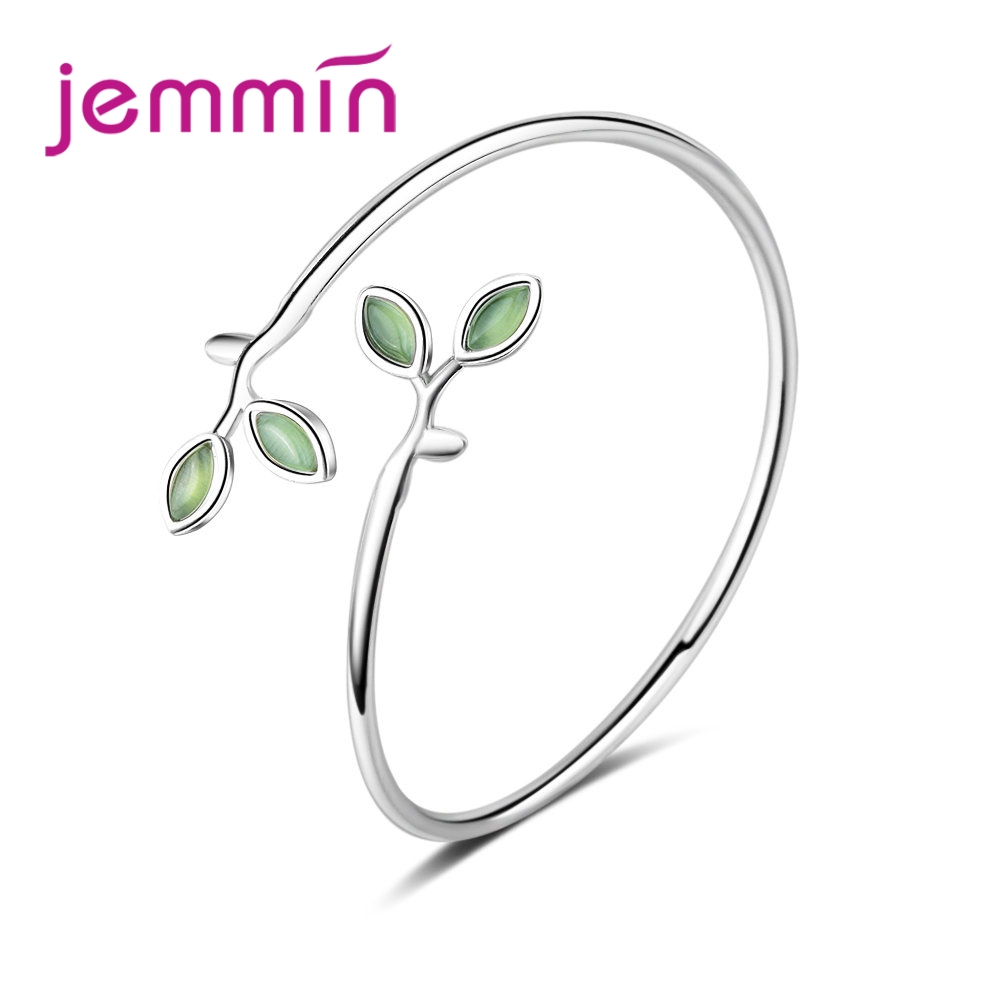 Vintage Hot Sale Green Leaves Design CZ Stone 925 Sterling Silver Opening Bracelet For Woman Girls Banquet Accessories
