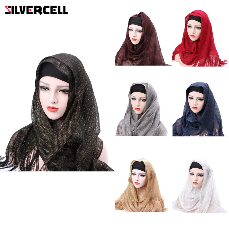 Muslim Hijab Fashion Tassel Headscarf Turban Women Head Coverings Gold Thread Hoofddoek Scarves 100 *50CM