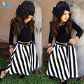 2015 New Summer wear Girls Casual TOPS + Maxi Long Skirts Clothing Set Suit Girls Clothe Fashion wear headband+belts 4pcs/set
