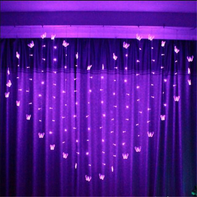 2 M 34SMD 16 P Borboleta Cortina de LED Luzes Da Corda Lâmpada Ano Novo Jardim de Natal Festa de Casamento Decoração Do Teto 220 V
