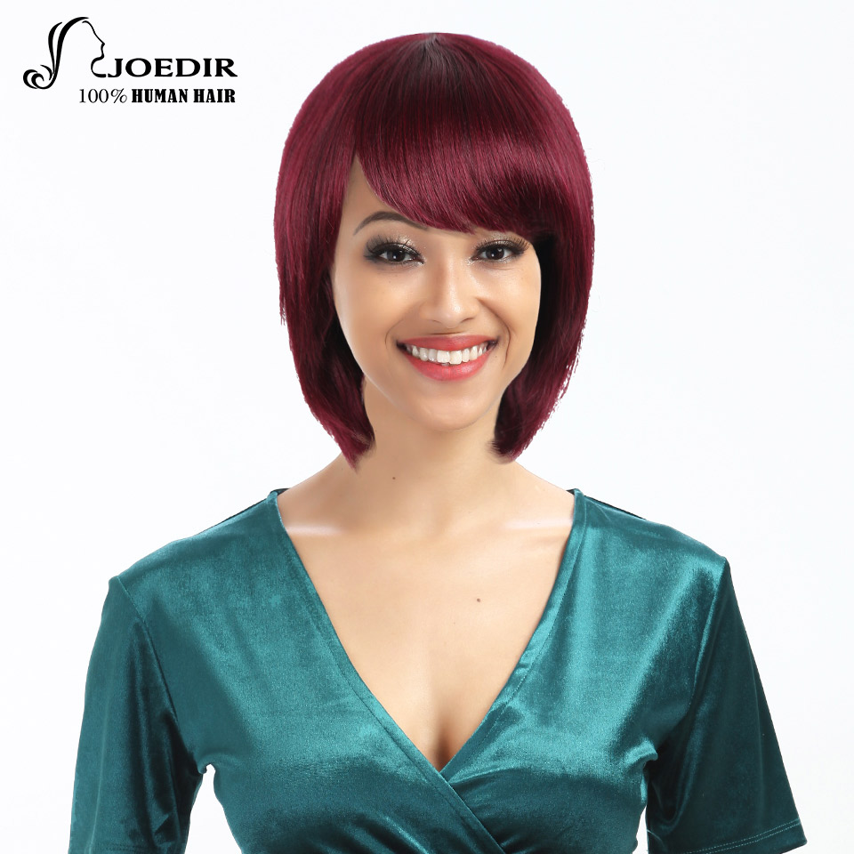 Joedir Human Hair Wigs Brazilian Remy Straight Hair Machine Made Short Bob Wigs For Black Women Various Colors Free Shipping