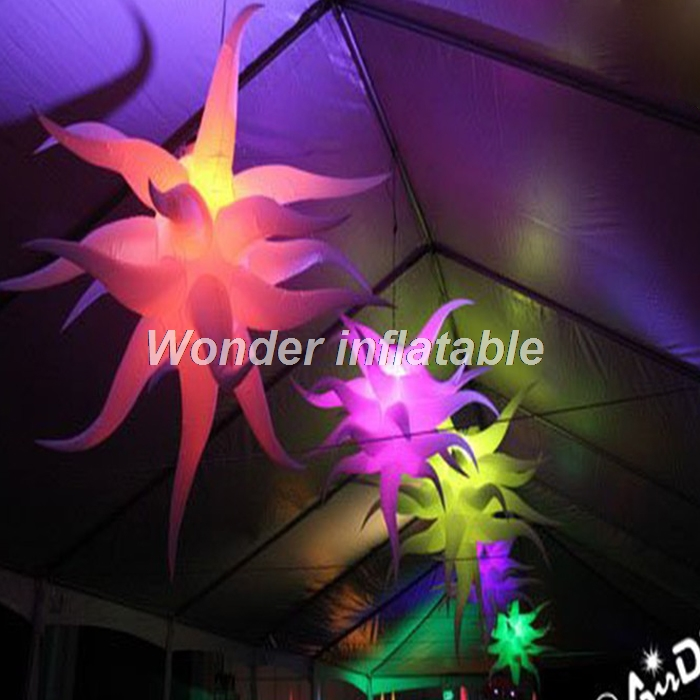 Nice 3m giant oxford cloth hang inflatable led star balloon for event and party