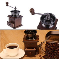 Mini Manual Coffee Mill Wood Stand Bowl Antique Hand Coffee Bean Grinder
