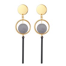 Earrings fashion metal geometry plush ball stud earrings geometry stereo earrings Fringe gray ball earrings