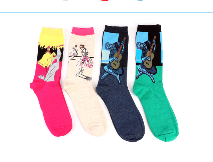 Hot Autumn winter Fashion Retro Women New Personality Art Van Gogh Mural World Famous Oil Painting Series Men Socks Funny Socks HTB1hMdbMFXXXXatXpXXq6xXFXXXd