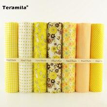Yellow and Orange Color Flower/check/dot/stripes Style 7 PCS Plain Cotton Fabric for Sewing Bundle Forfat Quarters Decoration