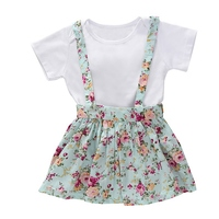 NewFashion Cute Strap Skirts Summer Baby Girl Short Sleeve Romper Strap Mini Floral Pattern Skirts Cotton Casual Outfits Set