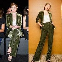 Women's Wide Leg Pants Suit 2019 Autumn and Winter New Classic Slim Olive Green Velvet Suit Wide Leg Pants Two piece Suit