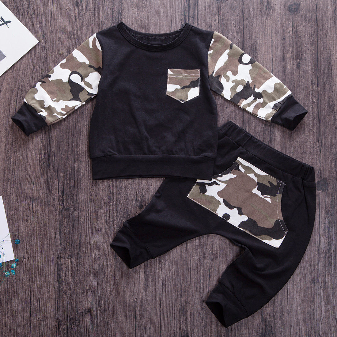 Baby Boys Camo Clothes set Newborn Long Sleeve Tops T-Shirt Pants Outfits Autumn Spring Clothing