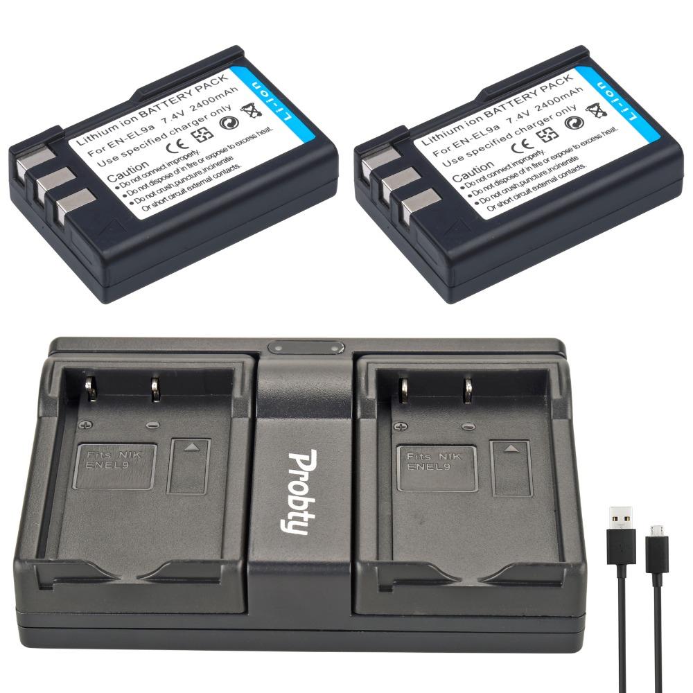 Prix pour Probty 2 pcs en-el9 en el9 caméra batterie + usb double chargeur pour nikon d40 d40x d60 d3000 d5000