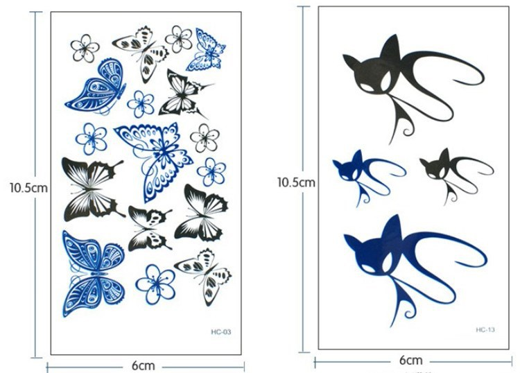 Colorful Butterfly Fox Feather Body Art Sexy Harajuku Waterproof Temporary Tattoo For Man Woman Henna Fake Flash Tattoo Stickers 12
