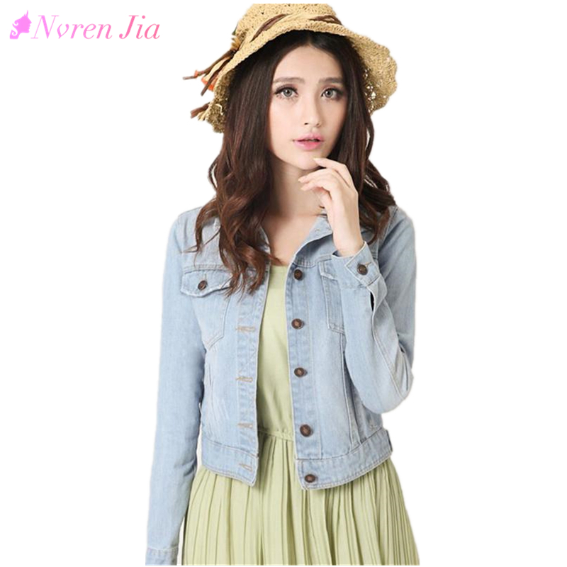 2018 Spring Women Denim Jacket Plus Size S-4XL Vintage Cropped Short Denim Coat Long-Sleeve Jeans Coat Cardigan Light/Deep Blue