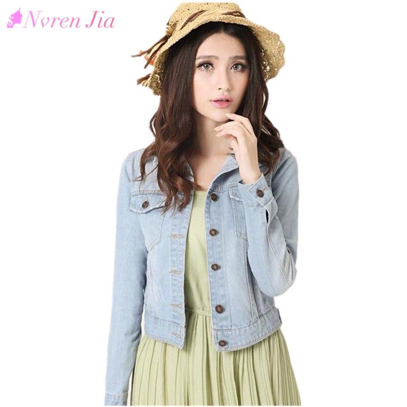 Fashion Women Denim Jacket Plus Size S-4XL Vintage Cropped Short Denim Jackets Long-Sleeve <font><b>Jeans</b></font> Cardigan Coat Light/Deep Blue