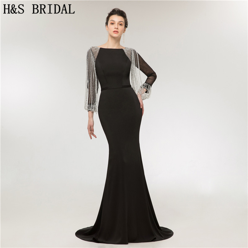 H S BRIDAL Long Sleeve Evening Dress Mermaid Crystal Tassel Evening Gown abendkleider elegant evening dresses