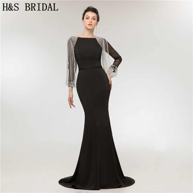 715b427ac3b H   S Люкс с длинным рукавом вечернее платье Русалка Кристалл кисточкой вечернее  платье abendkleider элегантное