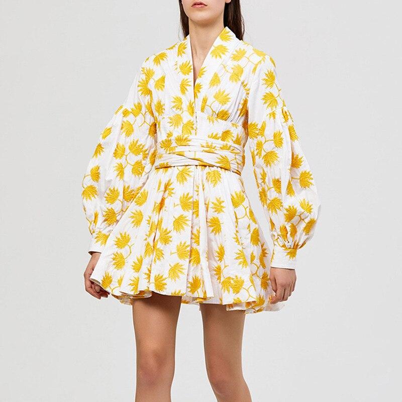 Date élégant 2019 robe de Designer pour les femmes dames charmante robe de sirène imprimé Floral