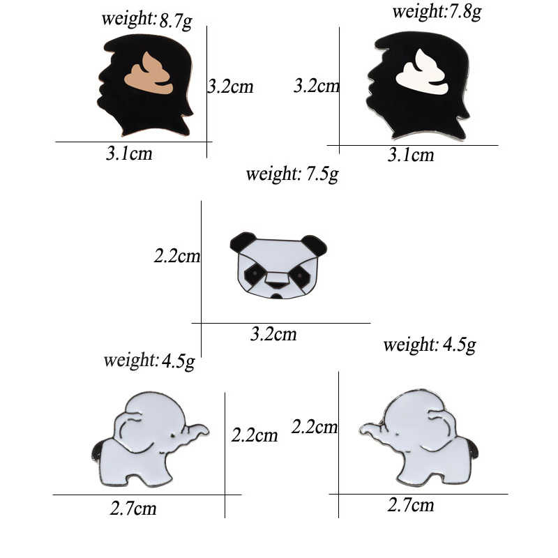 Kartun Panda Gajah Bayi Kepala Manusia Bros Pria Lucu Keras Enamel Pin Denim Jaket Kerah Lencana Fashion Bros untuk Wanita