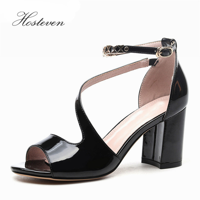 Hosteven Hot Sale Women Summer Sexy Shoes Basic High Heels 7CM Sandals  Platform Causal Shoes Party Black White Size 34-39 e2cdae5d7cd9