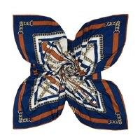 Winfox Новый Элитный бренд 130*130 см темно-ремень цепи лоскутное площади шелковые шарфы платки для женщин