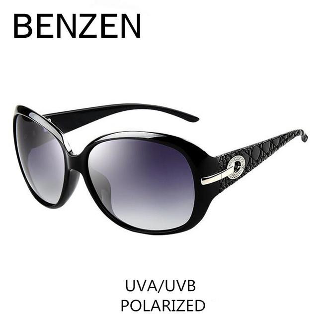 Gafas de sol polarizadas las mujeres damas elegantes diamantes de imitación gafas de sol gafas de sol femeninas gafas de sol tonos benzen con el caso 6008