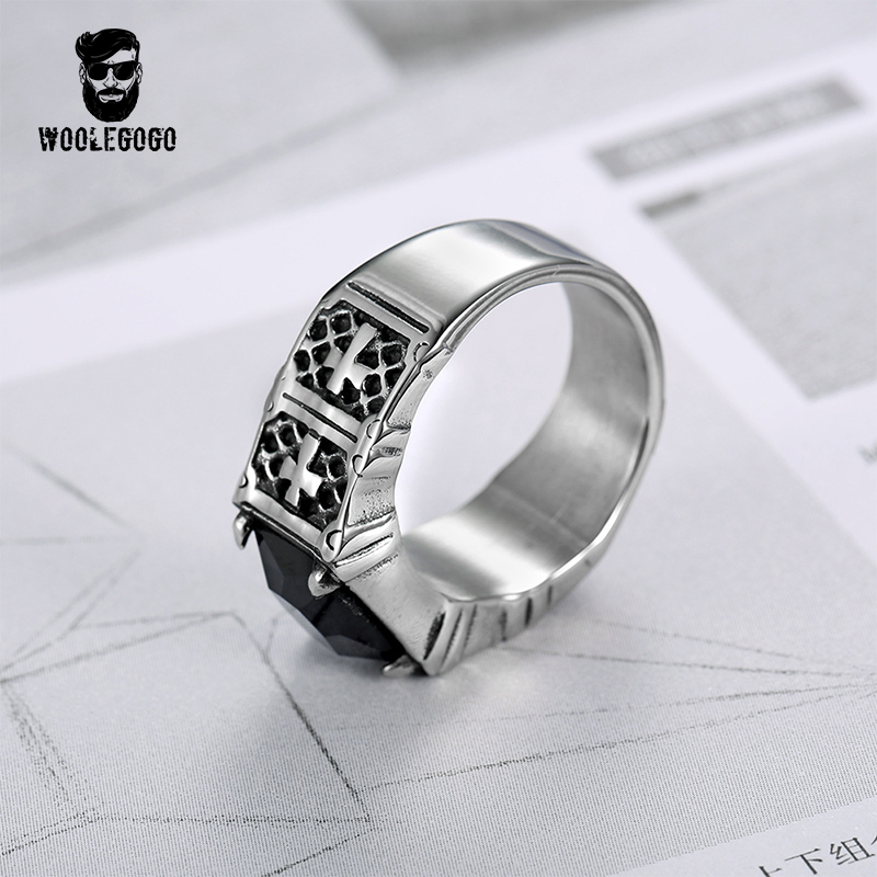 Mens Punk Wedding Rings Vintage Stainless Steel Cross Ring With Black Cz Stone Party Bands Male Jewelry Chirstmas Gift In From