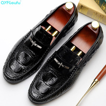 QYFCIOUFU 2019 Handmade crocodile shoes Designer Fashion Luxury Wedding Party mens dress Genuine Leather Mens oxford