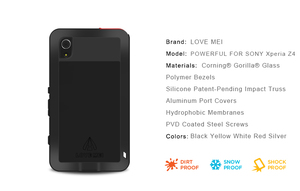 Image 4 - Miłość Mei potężny futerał do Sony Xperia Z3 odporny na wstrząsy silikonowy Metal aluminium tylna pokrywa ze szkłem hartowanym do Xperia Z4/E6533