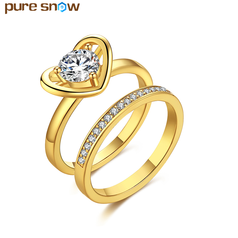 Top Quality Gold Color Heart Engagement Rings Cubic
