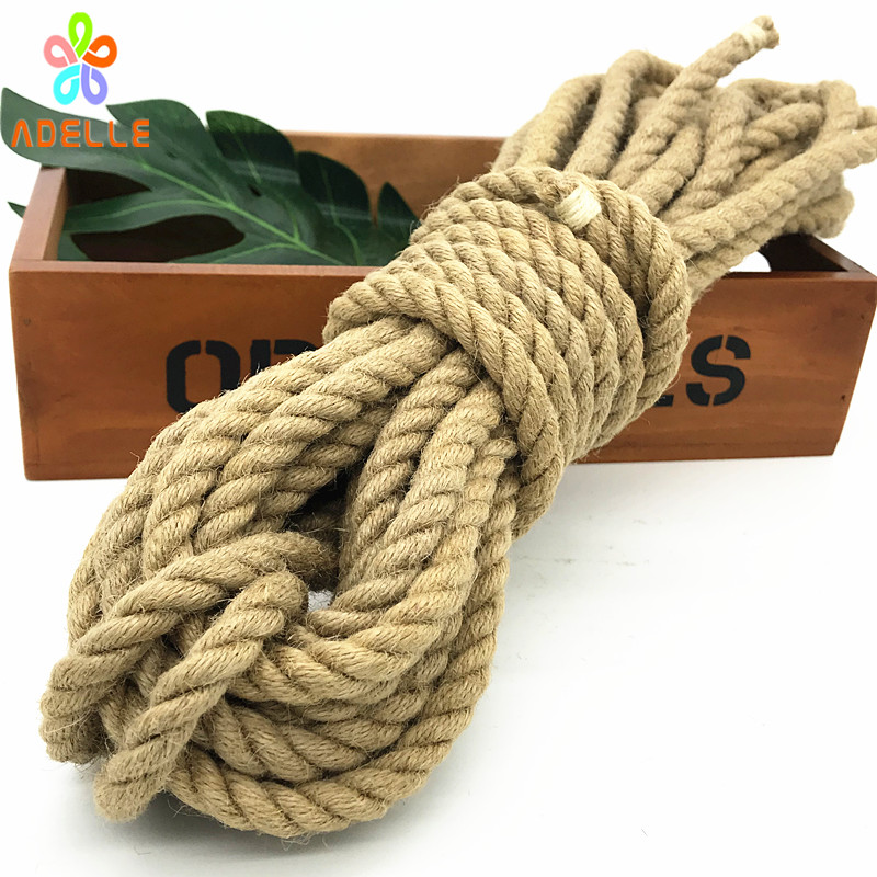 US $17 99 |Hot 10mm Twisted Jute Twine rope Natural thick sex toys Japanese  shibari rope DIY accessory home decoration free shipping 10m-in Cords from