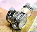 Fashion Jewelry old Tibet Silver White Moonstone Bead Ring Buddhism Nepal Ring Adjustable Unisex Gift GIFT