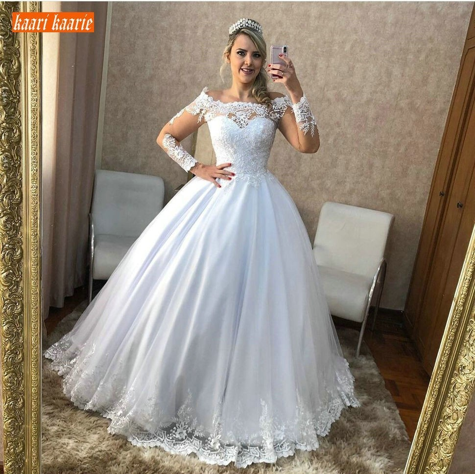Graceful Boho White Off Shoulder Wedding Gowns Long Sleeve Ball Gown Appliques Lace Wedding Dress Sexy Customized Bridal Dresses