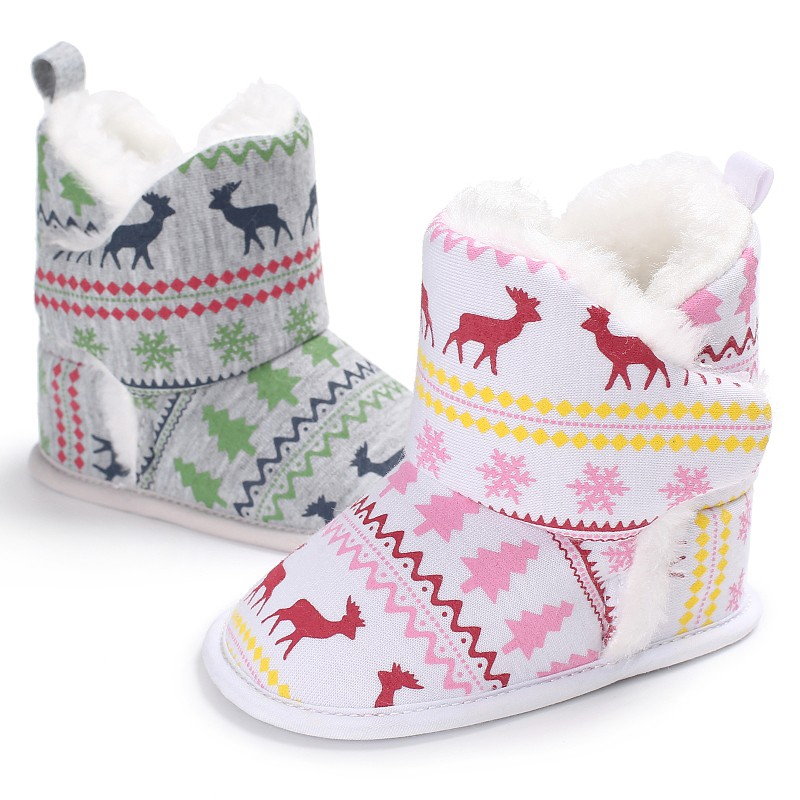Winter Autumn Warm Baby Boys Girls Vintage Xmas Pattern First Walkers Cotton Toddler Cack Baby Shoes