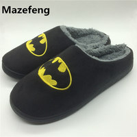 Winter Fashion Couples Cotton Slippers Men Women Superhero Indoor Warm Home Slippers Size 37 44 Chinelo