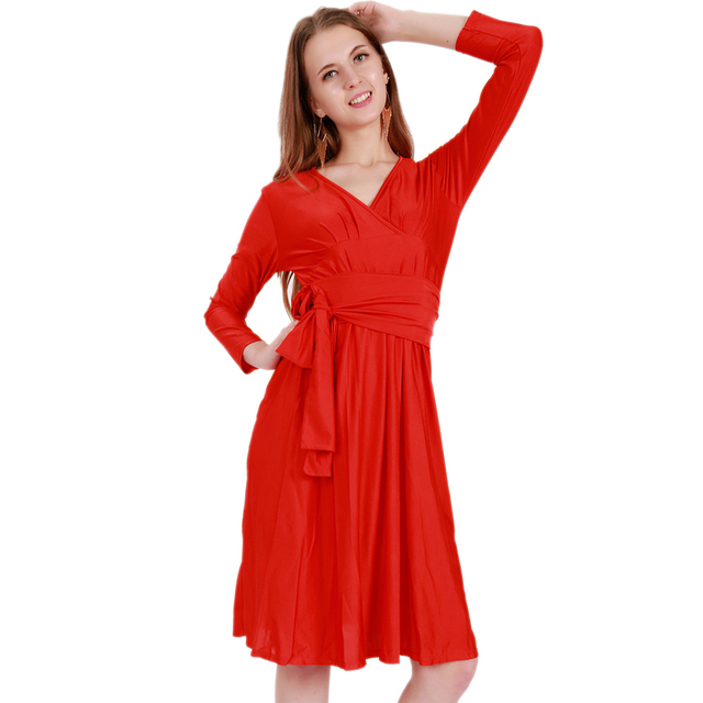 Wonder beauty Red long sleeve sashes V neck Knee length fit and flare dress  lady casual work office dress club party wear eb1e6bb5b305