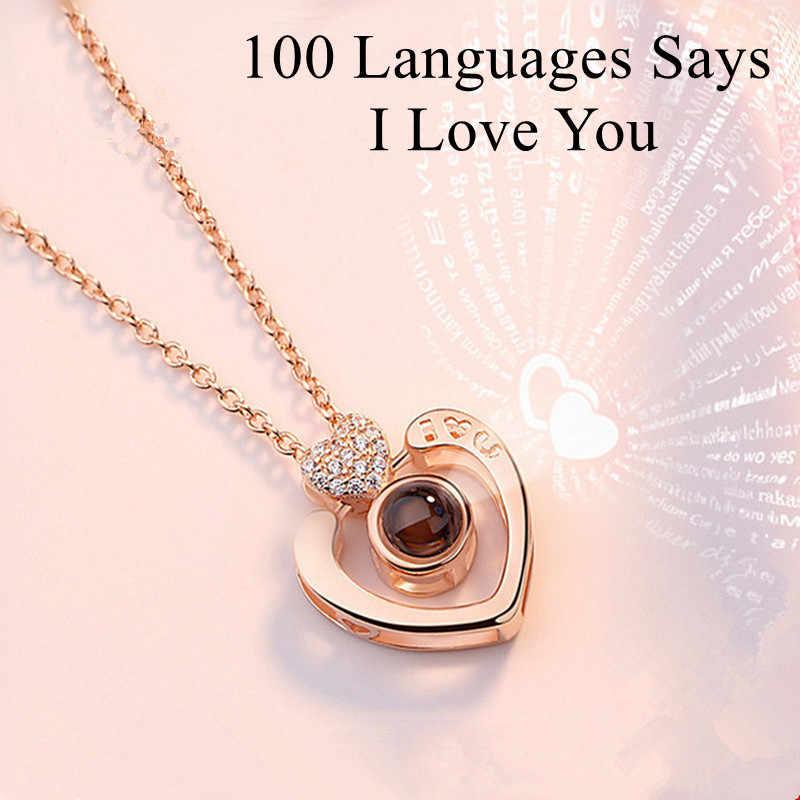 Presente do dia dos namorados 100 Idiomas Diz EU Te amo coração Colar de presente de Natal para namorada presente de noivado de Projeção