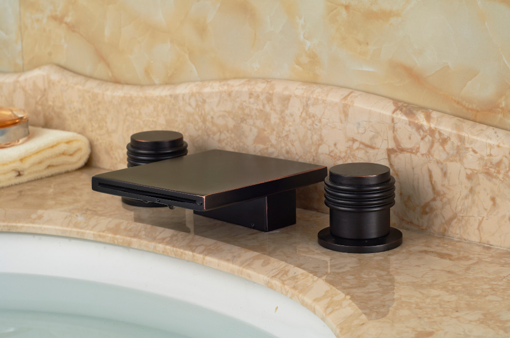 Square 3PCS Deck Mounted Oil Rubbed Bronze Bathroom Basin Sink Faucet Mixer tap oil rubbed bronze finish bathroom sink faucet widespread 3pcs bathroom basin mixer tap deck mounted
