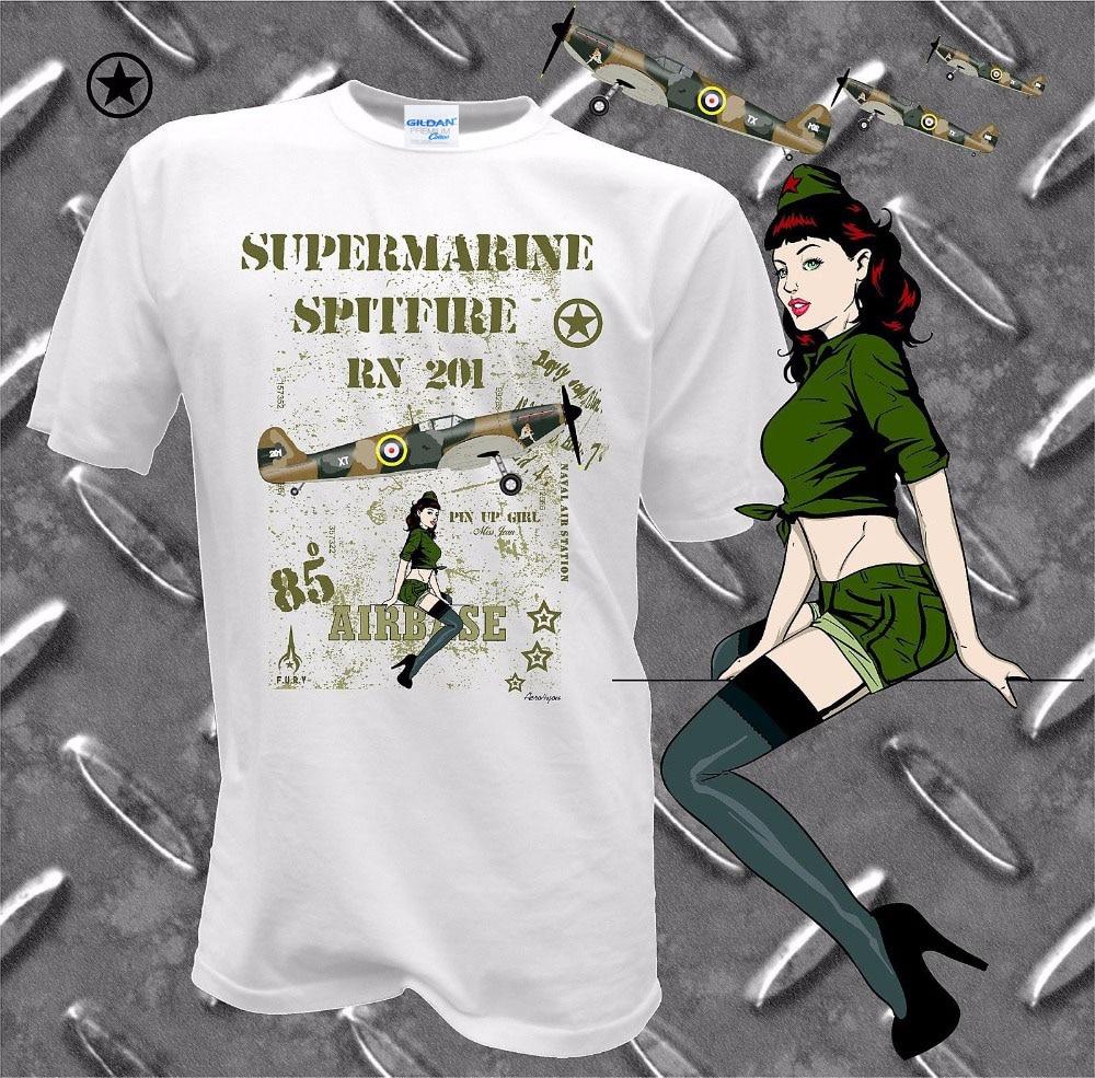 2019 New Arrival Men T Shirt New Printed T-Shirt Pure Cotton Men Herren Spitfire RC Flugzeug Pilot Flieger Aviation Fliegershirt