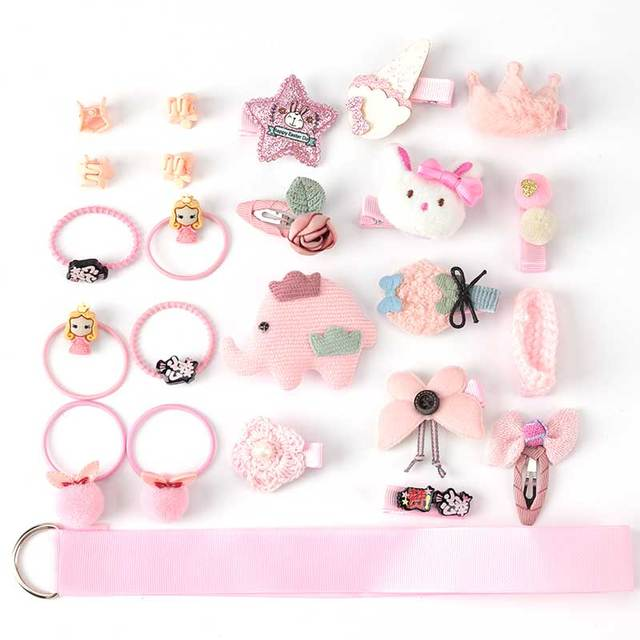 24 Piece clip set Cute cartoon rope bow flower animal Elastic hair band ring 2