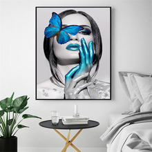 HAOCHU Nordic Figure Decorative Painting Canvas Art Print Wall Picture Poster Modern Blue Butterfly Woman Creative Home Decor