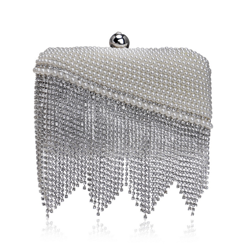 Evening Bags with Shining Diamonds and Beautiful Tassel for Ladies, Women's Clutch Bag with Chain for Parties