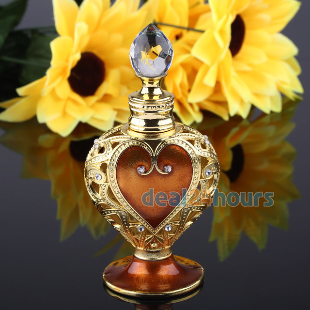 Antique Brown Vintage Cut Glass Metal Perfume Bottles With Stopper Empty Refillable 5ml NEW