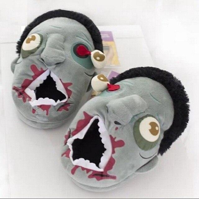Рождественский подарок Хэллоуин Бесплатная доставка Плюшевые тапочки с Зомби теплые шлепанцы с алчным зомби дома Хэллоуин смешные ботинки подарок