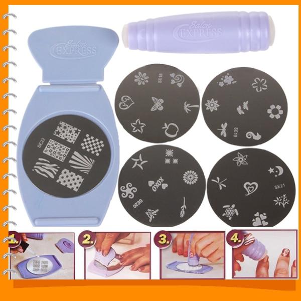 New Salon Express Pro Stamping Nail Art Set Kit Nail Art Templates ...
