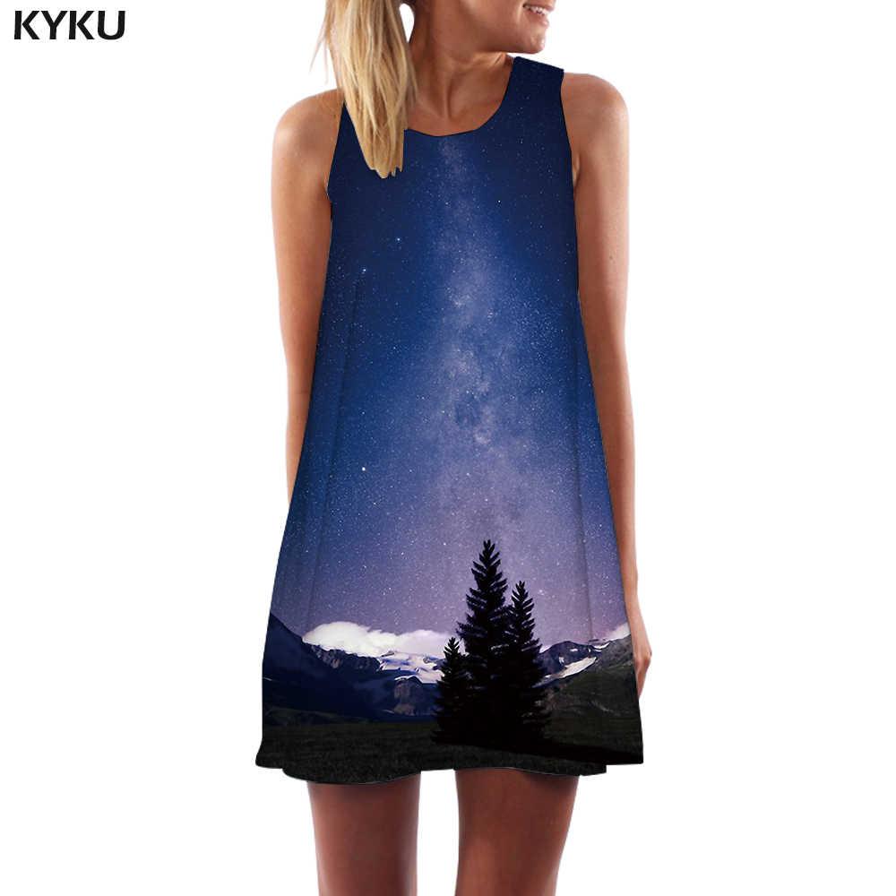 KYKU/Брендовое платье галактика, женские вечерние платья в Корейском стиле, сарафан в стиле Харадзюку, женская одежда с кисточками