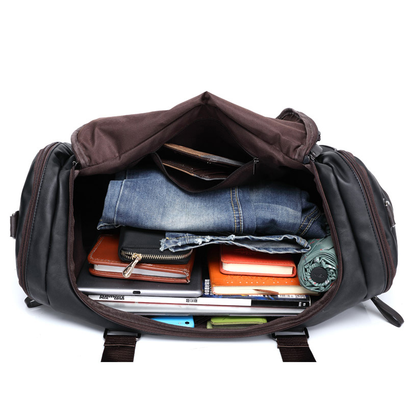 Toppkvalité Casual Travel Duffel Bag PU Läder Män Handväskor Stor - Väskor för bagage och resor - Foto 5