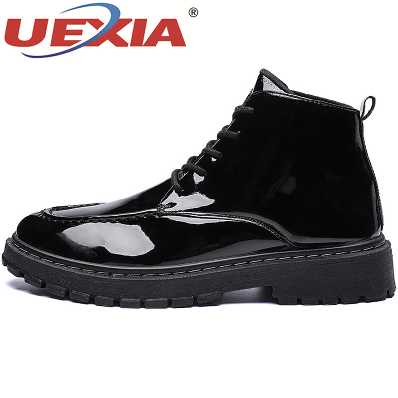 En black Qualité Appartements up amp; Mariage Cheville Vache Casual Party Chaussures Britannique Lace Cuir Hommes Uexia De Top Bottes Style Red ORxFqwFdI