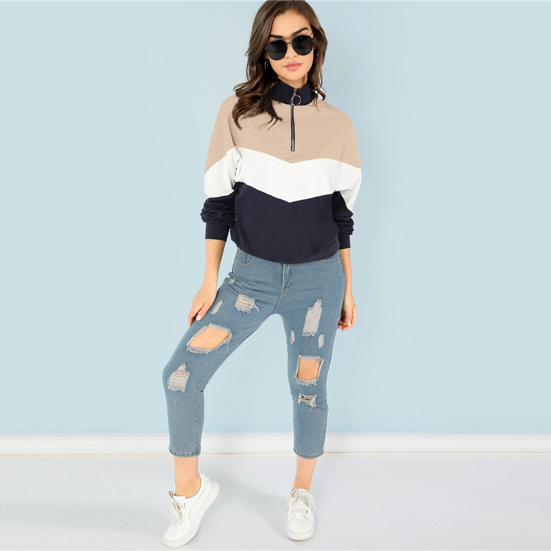 Multicolor O Ring Zip Front Cut and Sew Casual Long Sleeve Sweatshirt