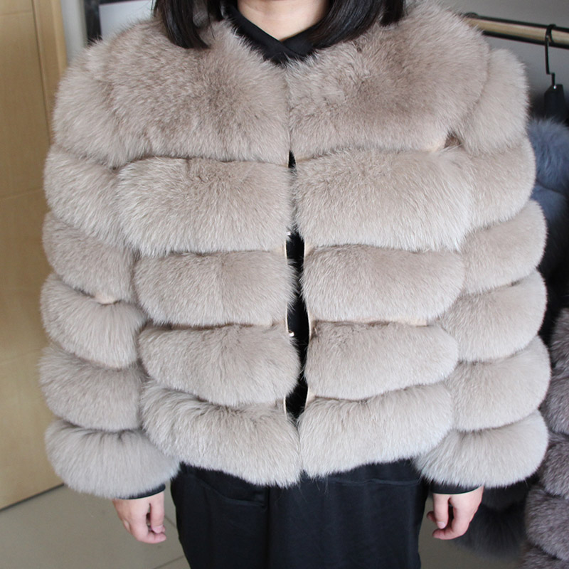 maomaokong 50CM Natural Real Fox Fur CoatWomen Winter natural fur Vest Jacket Fashion silm Outwear Real Fox Fur Vest Coat Fox 29