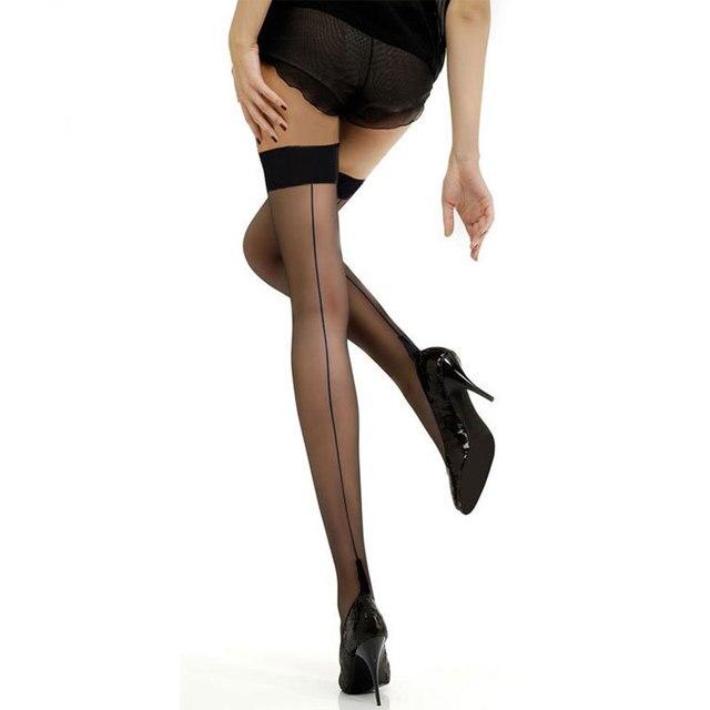 d403bea1afbe1 Sexy Back Seam Stockings Cuban Heel Stocking Female Sheer Nylon Thigh High Stockings  Black White Skin Pantyhose for Women Ladies