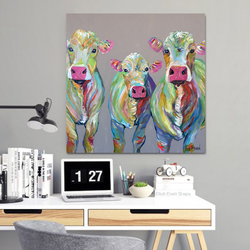 Wall Art Print Posters Colorful Painting Cute Cow Family ...